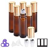 Essential Oil Roller Bottles 10ml (Painted Amber Glass, 6 Pack, 2 Extra Stainless Steel Balls, 12 Labels, Opener, Funnels by PrettyCare) Roller Balls for Oils, Roller on Bottles