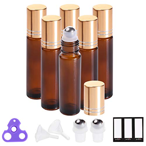 (Essential Oil Roller Bottles 10ml (Amber Glass, 6 Pack, 2 Extra Stainless Steel Balls, 12 Labels, Opener, Funnels by PrettyCare) Roller Balls for Oils, roller bottles for oils)