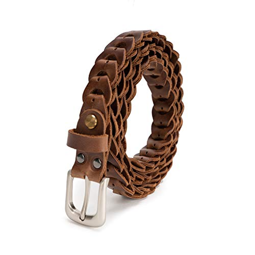 Sancater Women's Hand-Crafted Italian Cow Leather Braided Belt In Gift -