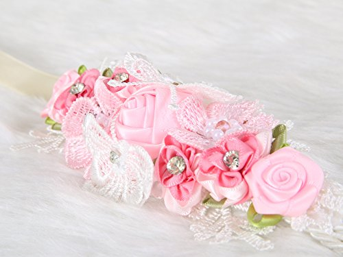 Floral-Wrist-Corsage-butterfly-lace-Wedding-Bridal-Bridesmaids-Pink