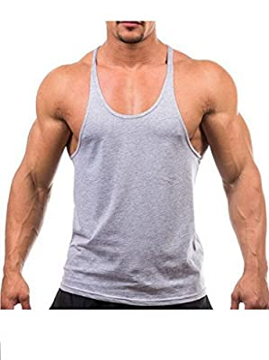YAKER Mens Stringer Bodybuilding Gym Tank Tops