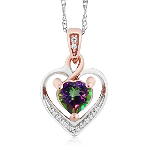 Mystic Topaz Diamond Necklace (10K Solid White and Rose Gold 0.60 cttw Green Mystic Topaz and White Diamond Heart Shape Pendant Necklace With 18
