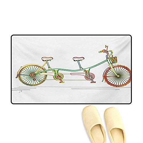 (Doormat,Colorful Tandem Bicycle Design on White Background Pattern Clipart Style Print,Floor Mat Bath Mat for Tub,Multicolor,32