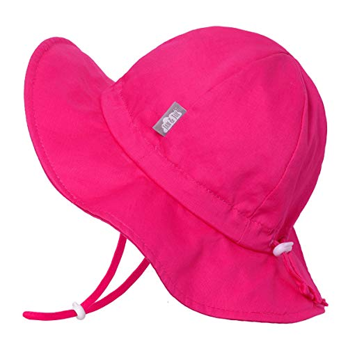 Baby Girl Cotton Sun Hat 50 UPF, Adjustable Good Fit, Stay-on Tie (S: 0-6m, Hot Pink)