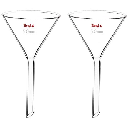 StonyLab 2-Pack Glass Heavy Wall Funnel Borosilicate Glass Funnel, 50mm Diameter, 50mm Stem Length