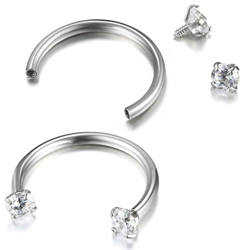 FIBO STEEL 316L Stainless Steel 2Pcs 16G Horseshoe Lip Nipple Eyebrow Ring Nose Daith Ear Cartilage Helix Piercing Hoop Rings 3mm Cubic Zirconia Inlaid, 10mm Bar Length