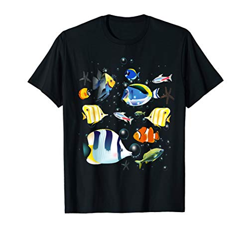 Tropical fish aquarium under ocean t-shirt