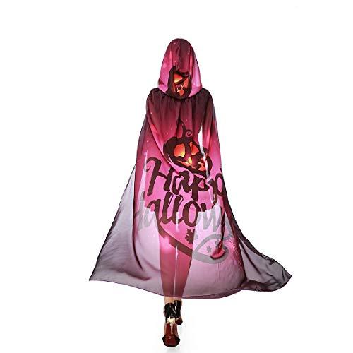 Women's Halloween Costume Hooded Cape Chiffon Pumpkin Cosplay Outfits Purple]()