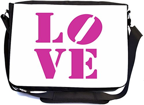 Rikki Knight LOVE Hot Pink Color Design Multifunctional Messenger Bag - School Bag - Laptop Bag - with padded insert for School or Work - Includes Matching Compact - Knight Bridal