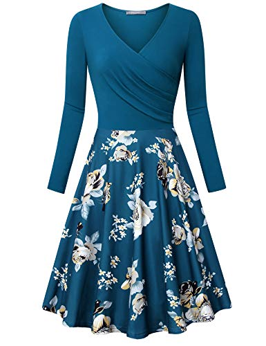 Furnex Midi Dresses, Vintage Retro 1950s Floral Prints Swing Dress Long Sleeve V Neck Homecoming Soft Elegant Ruched Slim Fit Casual Dress Multicolor Deep Cyan Medium