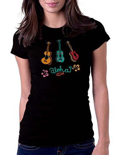 Gbond Apparel Ukulele Aloha - Womens Tee T-Shirt, Small, Black