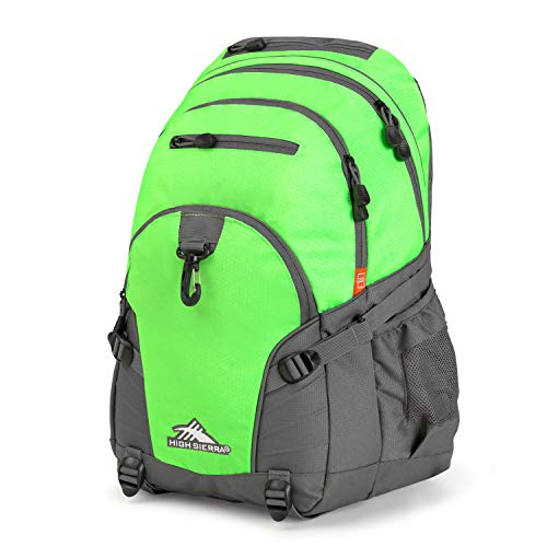 High Sierra Loop Backpack for Men and Women, Compact Bookbag Backpack for College Students or Business Professionals, Stylish Lunch Backpack, Lightweight Unisex Backpack for School, Office, or Travel (Lime Green Book Bags)