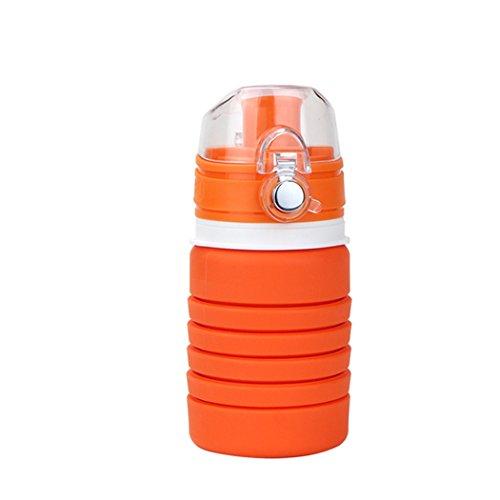 YUNSH Collapsible Water Bottle - Medical Grade BPA-Free, Leak Proof, 18 Ounce (Orange)