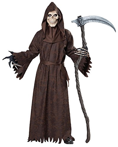 UHC Men's Ancient Grim Reaper Brown Robed Skeleton Outfit Halloween Costume, L (42-44) (Male Halloween Outfits)