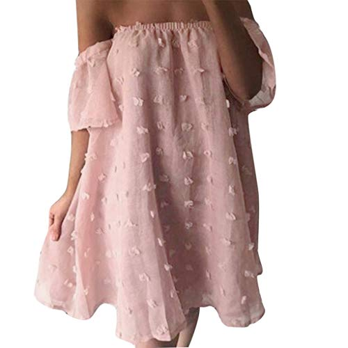 Giulot Women's Off Shoulder Lace Puff Dress Long Sleeve Strapless Bandeau Mesh Jacquard Maxi Dress Bridesmaid Dress Pink ()