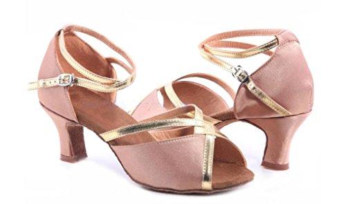 Professional 41 Mädchens Des Salsa weitere Pink Der Schuhe Schuh Dance Sandalen Frauen Satin Ballroom Obermaterial Farben Latin Med qtwSgpnF