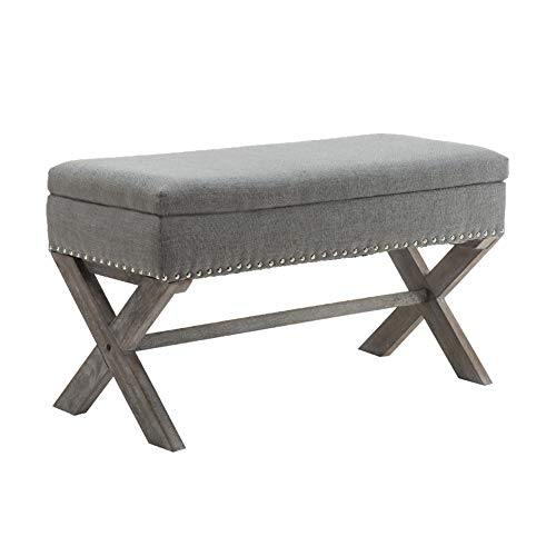 (Fabric Upholstered Storage Ottoman Bench, Large Rectangular Gray Footrest Collapsible Bench Seat with Nailhead Trim & X-Shaped Wood Legs for Living Room, Bed Room, Hallway or Utility Room by Chairus)
