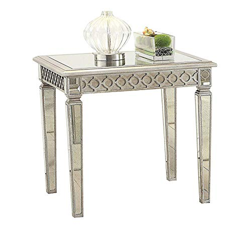 Inlayed Top - Wood & Style Furniture Modern End Table with Mirror Inlayed Top, Silver Home Office Commerial Heavy Duty Strong Décor