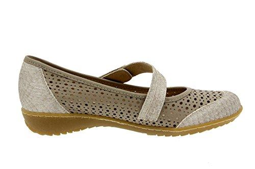 Calzado mujer confort de piel Piesanto 6756 merceditas plantilla extraíble zapato cómodo ancho Beig
