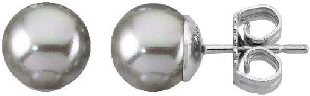 Majorica 00324.06.2.000.701.1 Pendientes Mujer Plata Perla Gris Tamaño 8 mm Presión