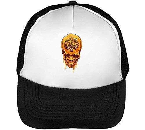 Honey Skull Gorras Hombre Snapback Beisbol Negro Blanco