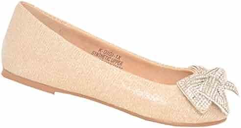 91cc756f444a6 De Blossom Girls Nude Glitter Rhinestone Bow Adorned Slip-On Flats 11-4 Kids