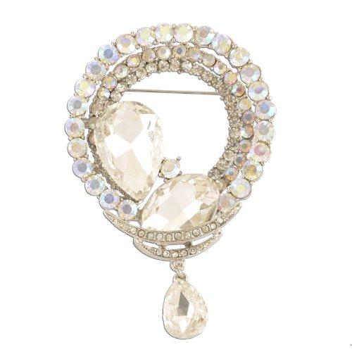 Crystal Brooch Dangling (Circular Aurore Boreale Dangling Crystal Brooch)