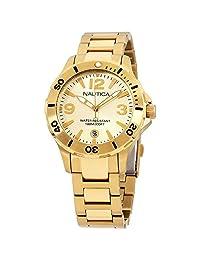 Nautica A16596M Reloj unisex de acero inoxidable con esfera dorada