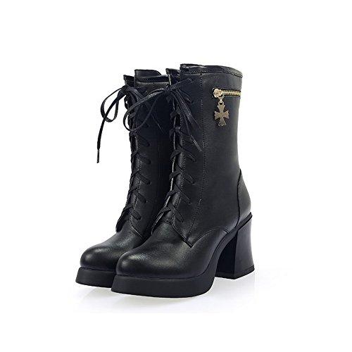 Allhqfashion Dames Pu Zachte Materialen Ronde Gesloten Neus Middelhoge Hoge Hakken Laarzen Zwart