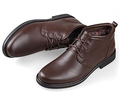 Negro 48 Swnx Casuales Black Zapatos Talla 39 Nieve Brown La Cordones Cuero Con 39 Zapatillas 44 A De Botines Forrado Hombre Deporte Derby Aq6g4U