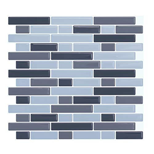 VIVID TREE Peel and Stick Contemporary Linear Gray Blue Resin Vinyl Tile,Pastel Brick Tile Kitchen Wall Protector,Peel & Stick Backsplash Sticker,Pack of 4