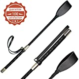 Horse Supply 18 inch Riding Crop for Horses, Horse Whip with Double Slapper, Leather Equestrian Jump Bat, Black
