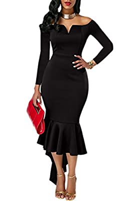 ONLYSHE Womens Off The Shoulder High Low Bodycon Mermaid Evening Party Midi Dress