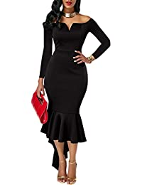 Womens Off The Shoulder High Low Bodycon Mermaid Evening...