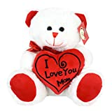 KINREX I Love You Mom Teddy - 11.81 Inches - 30 cm - White With a Beautiful Message Pillow - Big Plush Bear - Gifts For Mom, Women and Ladies