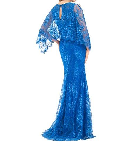 2018 Brau Lang Spitze mia Etuikleider La V Brautmutterkleider Ausschnitt Abiballkleider Promkleider Abschlussballkleider Blau Eq5Zgc