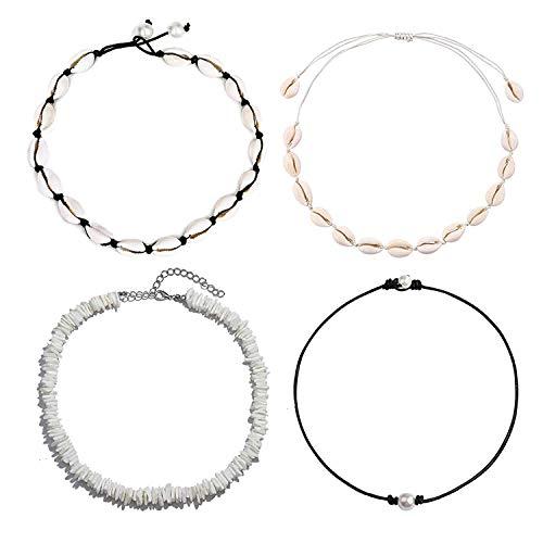 - Long tiantian Women Puka Shell Necklace Bracelet 2 Pcs Set Adjustable Leather Anklet Hawaii Beach Choker Jewelry for Girls (Shell 4 Set 3)