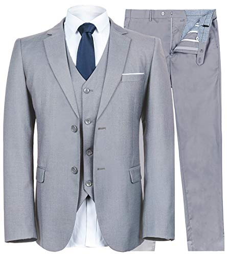 YIMANIE Men's Suit Slim Fit 2 Button 3 Piece Suits Jacket Vest & Trousers Light Grey