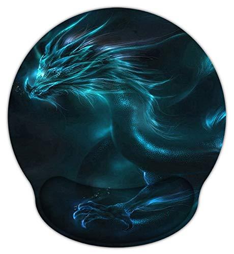 Meffort Inc Mouse Pad with Wrist Rest Support & Non-Slip Base, Durable Ergonomic Gaming Mousepad - Blue Dragon -