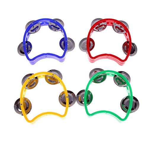 ORYOUGO 4 Pack Hand Held Tambourine Musical Instrument, Dual Alloy Recording Combo Cutaway Half Blossom Tambourine with 4 Bells for KTV Party Kid Game Toy,Blue, Yellow, Red, Green