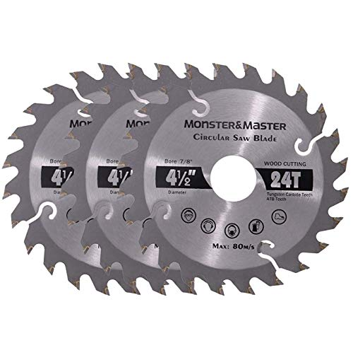 Monster&Master Alloy Saw Blade, Circular Saw Blade For Wood Works, Plastic PVC Pipes, Aluminum Profiles, Thin Iron Plates, 4-1/2-inch x 24T, MM-ASB-001x3