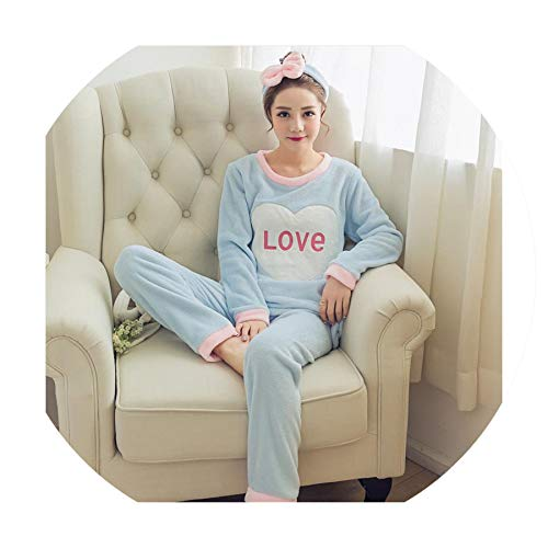 (Toping Fine Women Pyjamas Sets Pajamas Sleepwear Suit Thick Warm Coral Flannel Nightgown,A 25 Blue Love,L)