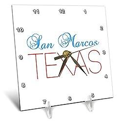 3dRose Alexis Design - American Cities Texas - San Marcos, Texas, red, Blue Text. Patriotic Home Town Design - 6x6 Desk Clock (dc_301579_1)