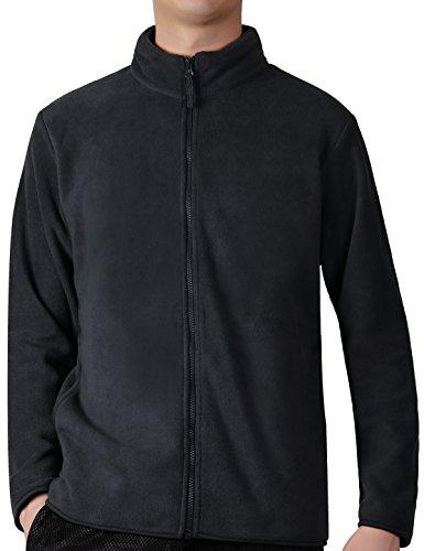 Fastorm Full-Zip Fleece Men Lightweight Fleece Solid Polar Thermal Fleece Jacket Sweater Dark Grey XL -