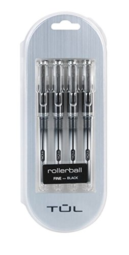 TUL RB1 Rollerball - 4 Pack, Needle Point, Fine 0.5mm, Black Ink