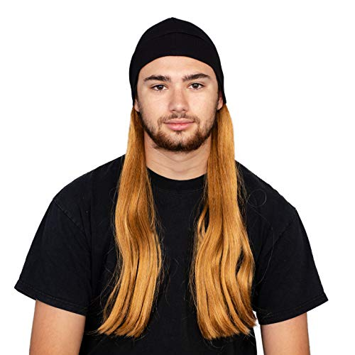 Adult Halloween Costume Accessory Deluxe Blonde Wig and Beanie Hat]()