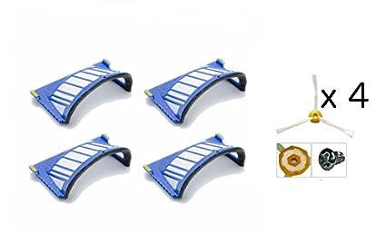 Pack de 4 Filtros AeroVac + 4 Cepillos Laterales iRobot Roomba Series 585 595 600 605