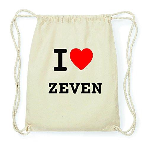JOllify ZEVEN Hipster Turnbeutel Tasche Rucksack aus Baumwolle - Farbe: natur Design: I love- Ich liebe mVlBiN