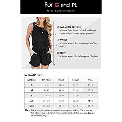 For G and PL Women's Summer Sleeveless Button Rompers with Pockets: Clothing