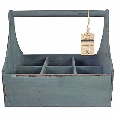 Vintage Storage Box, Storage Bin, Antique Milk Bottle Tote, 6 Compartment (Distressed Blue)